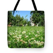 White Clover Field And The Playground Tote Bag