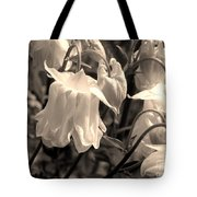 White Columbine Lanterns Monochrome Horizontal Tote Bag