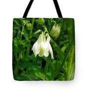 White Columbine On Green Tote Bag