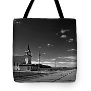 White Country Chuch And Road Tote Bag