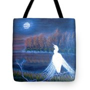 White Crane Dancing In The Light Of The Moon Tote Bag