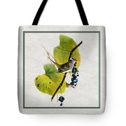 White Crowned Finch Square Tote Bag