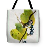 White Crowned Finch Vertical Tote Bag