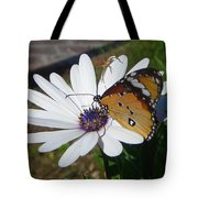 White Daisy And Butterfly Tote Bag