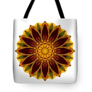 Deep Orange Marigold V Flower Mandala White Tote Bag