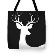 White Deer Silhouette Tote Bag