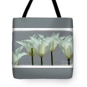 White Early Dawn Tulips White Bordered Tote Bag