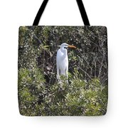 White Egret In The Swamp Tote Bag