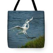 White Egret Landing 2 Tote Bag by Ernie Echols