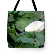 White Egret On Lilypads Tote Bag