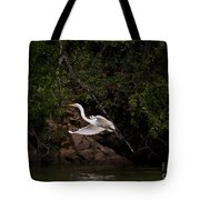 White Egret's Approach   #0615 Tote Bag