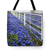 White Fence - Blue Bonnets Tote Bag