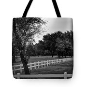 White Fence On The Wooded Green Tote Bag