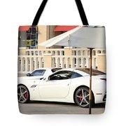 White Ferrari At The Store Tote Bag
