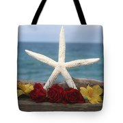 White Finger Starfish And Flowers Tote Bag