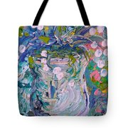 White Flower Abstract Tote Bag