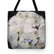 White Flower And Friendly Bee Mixed Media Painting Tote Bag