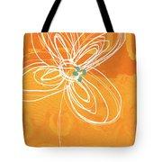 White Flower On Orange Tote Bag