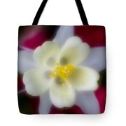 White Flower On Red Background Tote Bag