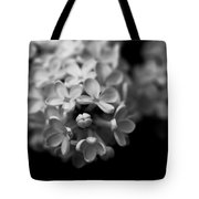 White Flowers In Black And White Tote Bag