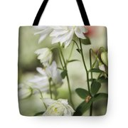 White Frilly Columbines Tote Bag