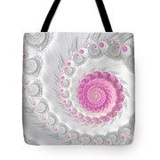 White Grey And Pink Fractal Spiral Art Tote Bag