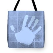 White Hand Cyan Tote Bag