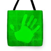 White Hand Green Tote Bag