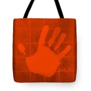White Hand Orange Tote Bag