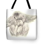 White Handed Gibbons--mother And Son Tote Bag