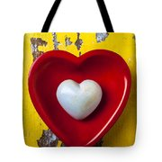 White Heart Red Heart Tote Bag