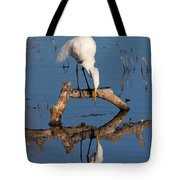 White Heron In The Looking Glass Tote Bag