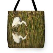 White Heron Staring At The Water Tote Bag