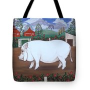 White Hog And Roses Tote Bag