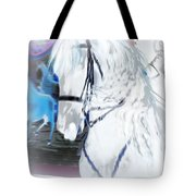 White Horse Abstract Tote Bag