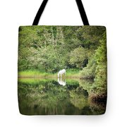 White Horse Drinking Water Tote Bag