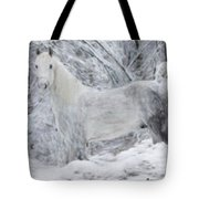 White Horse In The Snow Tote Bag