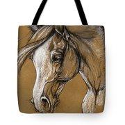 White Horse Soft Pastel Sketch Tote Bag