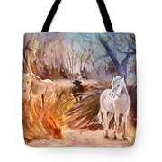 White Horses And Bull In The Camargue Tote Bag