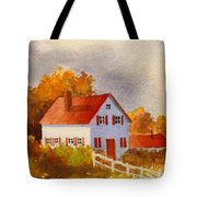White House With Red Shutters Tote Bag