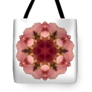 Iris Germanica I Flower Mandala White Tote Bag