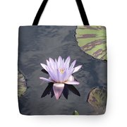 White Light Blue Tiped Waterlily Tote Bag