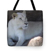 White Lion Looking Proud Tote Bag