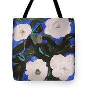 White Magnolias On Deep Blue Tote Bag