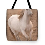White Mare Approaches Number One Close Up Muted Tote Bag