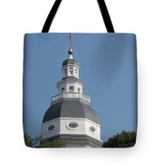 White Maryland State House Cupola Against Blue - Annapolis Tote Bag