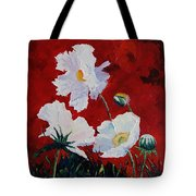 White On Red Poppies Tote Bag