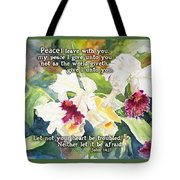 White Orchid John 14 Tote Bag