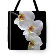 White Orchids On Black Vertical Tote Bag