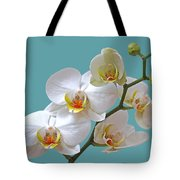 White Orchids On Ocean Blue Tote Bag